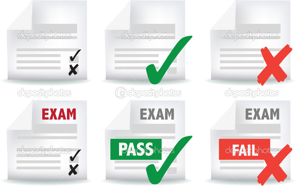 Icon and symbol set of exam papers pass and fail — Vettoriali Stock  #5270943