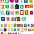 Stock Vector: Ransom style muddled alphabet
