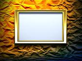 Gold frame on wrinkled background — Stock Photo
