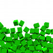 3d green cubes on white background — Stock Photo