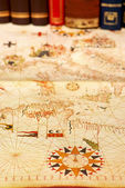 Portuguese map and books. — Stock Photo