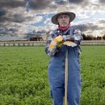 ������, ������: Farmer portrait with hay field