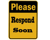 Please respond sign isolated — Stock Photo