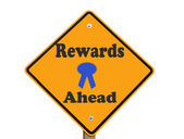 Rewards ahead sign isolated — Stock Photo