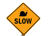 Slow warning sign isolated — Stock Photo