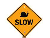 Slow warning sign isolated — Stock Photo