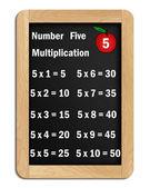 Blackboard multiplication tables of # 5 — Foto de Stock