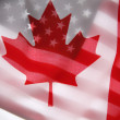 American and Canadian flags — Stock Photo