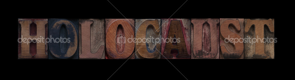 The word holocaust in old letterpress wood type — Stock Photo #4387919