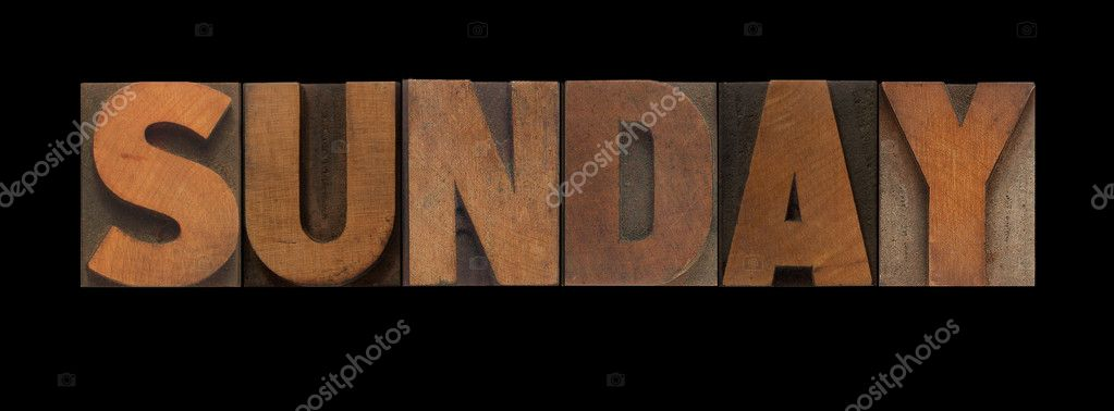 The word Sunday in old letterpress wood type — Stock Photo #4671771