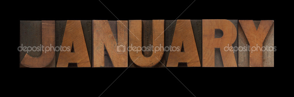 The word January in old letterpress wood type — Stock Photo #4671772