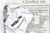 Resume crumpled — Stock Photo