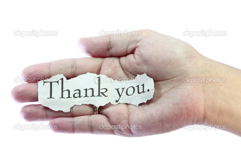 Thank you or thanks concept with hand word and paper. — Stock Photo #5115974