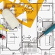 House plan blueprint — Stock Photo