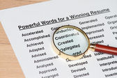 Powerful words for winning a resume — Stock Photo
