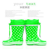 Green rubber boots — Stock Photo