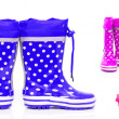 Collage of rubberboots - Stock Photo
