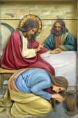 Mary Magdalene washes the feet of Jesus — Stock Photo