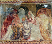 Presentation of Jesus at the Temple, fresco paintings in the old church — Stock Photo