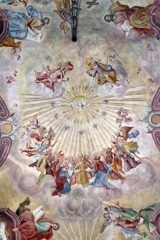 Holy Trinity and All Saints, fresco on the ceiling of the church — Stock Photo #4996476