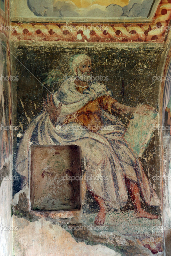 Fresco paintings in the old church  — Stock Photo #4996874