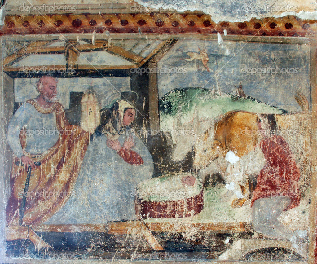 Nativity Scene, Fresco paintings in the old church — Stock Photo #4997493