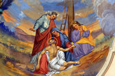 Jesus' body is removed from the cross — Stock Photo