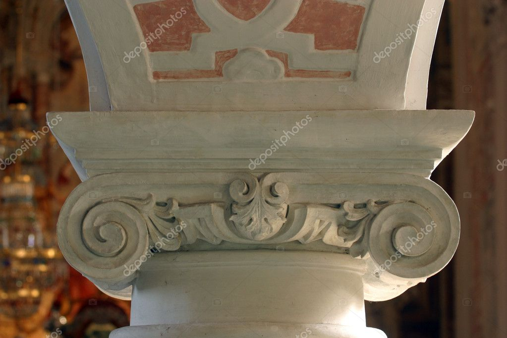 Column, stucco in the church of St. Catherine in Zagreb  Stock Photo #5004938