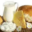 Dairy products and bread — Stock Photo