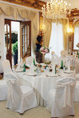 Table setting at a luxury wedding reception — Foto Stock