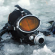 Foto Stock: Diver among ice