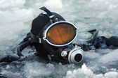 Diver among the ice — Stock Photo