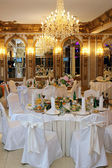 Table setting at a luxury wedding reception — Stok fotoğraf