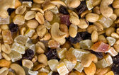 Dried fruits and nuts background — Stock Photo