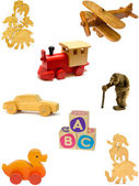 Wooden toy collection — Stock Photo