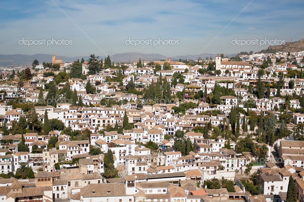 Picturesque Albaycin quarter viewed from the Alhambra in Granada, Spain.  Stock Photo #4143462