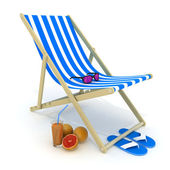 Beach bed blue — Stock Photo