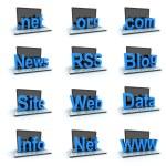 Laptop icon set — Stock Photo