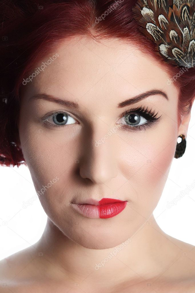 Young attractive lady with make up on one half of her face! — Stock Photo #4228585