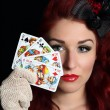 Stock Photo: Lady with playing cards