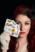 Lady with playing cards — Stock Photo