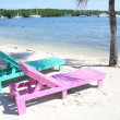 Stock Photo: Beach lounge chairs