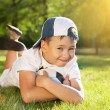Cute little boy with a ball in beautiful park in nature; — Foto Stock #4868845