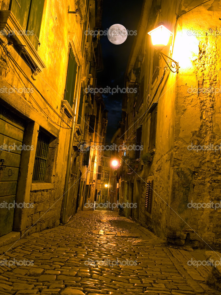 Night view of a street typical for Mediterranean architecture. — Stock Photo #4249195