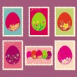 Easter postage stamps — Stock Vector