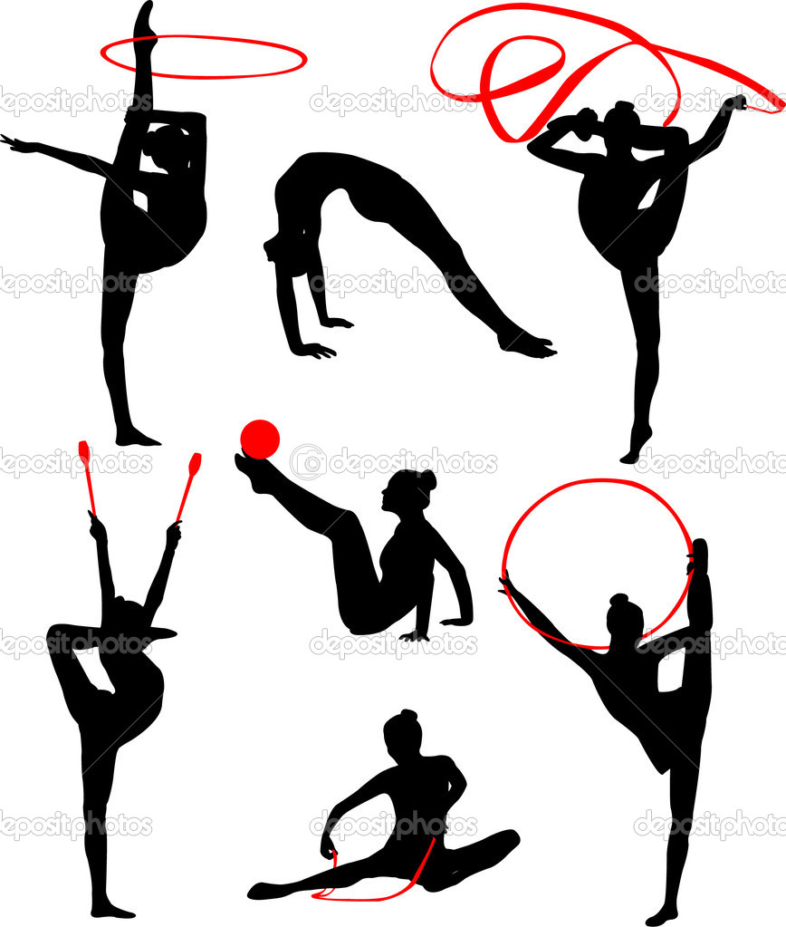Rhythmic gymnastic silhouette collection - vector — Stock Vector #3944406