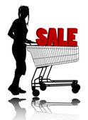 Mujer con carrito de compras — Vector de stock
