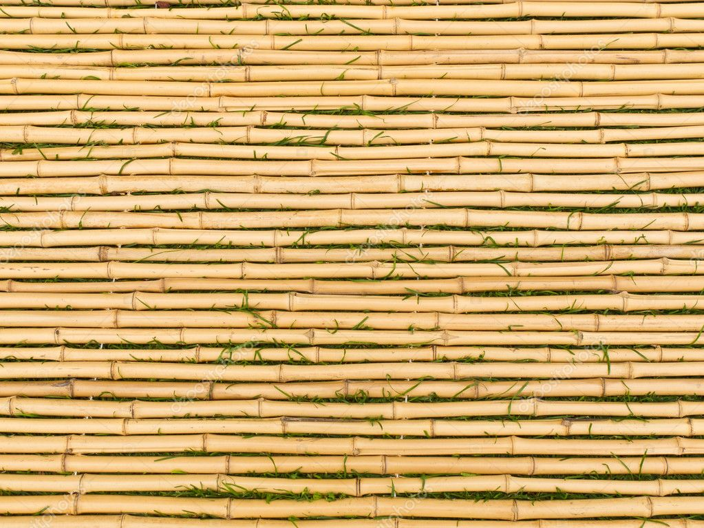 Bamboo tied together to form a mat with blades of grass between each horizontal stick — Stock Photo #3924538