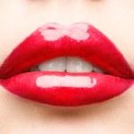 Red lips closeup — Stock Photo