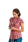 Beautiful multi-ethnic young woman texting — Stock Photo